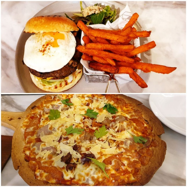 Impossible Burger & 3 Meat Pizza