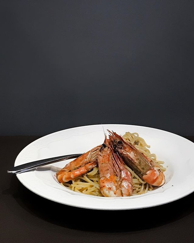 Tiger Prawn Pasta with White Wine Sauce ( $13.80 ) .