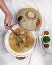 Lobster Claypot Porridge with Crispy Rice Puffs ( market price ) .