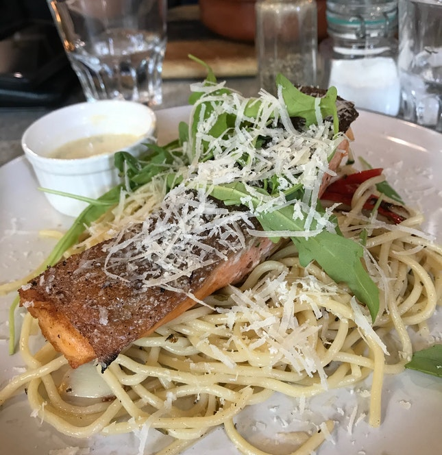 Grilled Salmon Aglio Olio [$16.50]