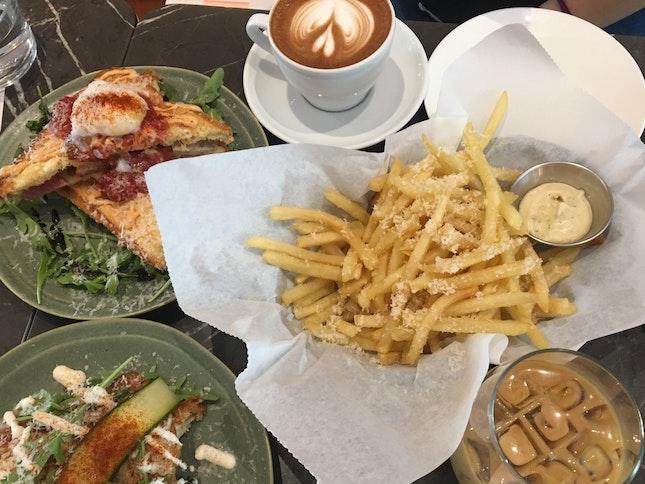 2Jaffles, Truffle Fries, 2 Coffee ($38)