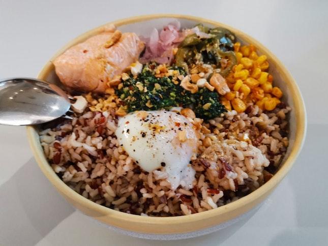 Pesto Salmon Grain Bowl