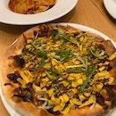 Duck pizza and Portbello Mushroom Ravioli