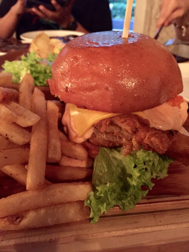 mentaiko soft shell crab burger