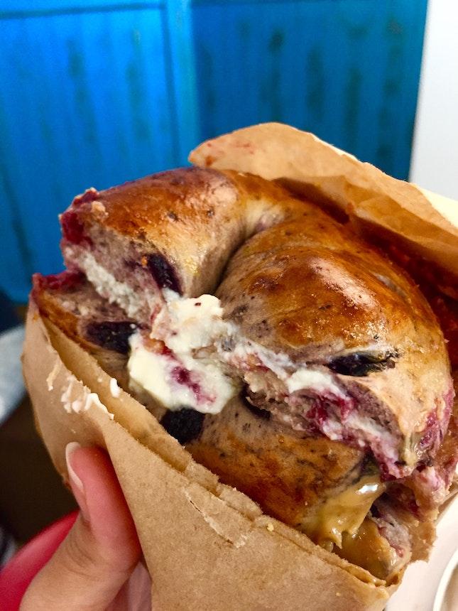 customized blueberry bagel