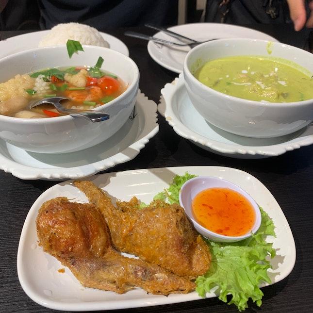 Tom Yum + Green Curry Chicken + Stuffed Chicken Wings