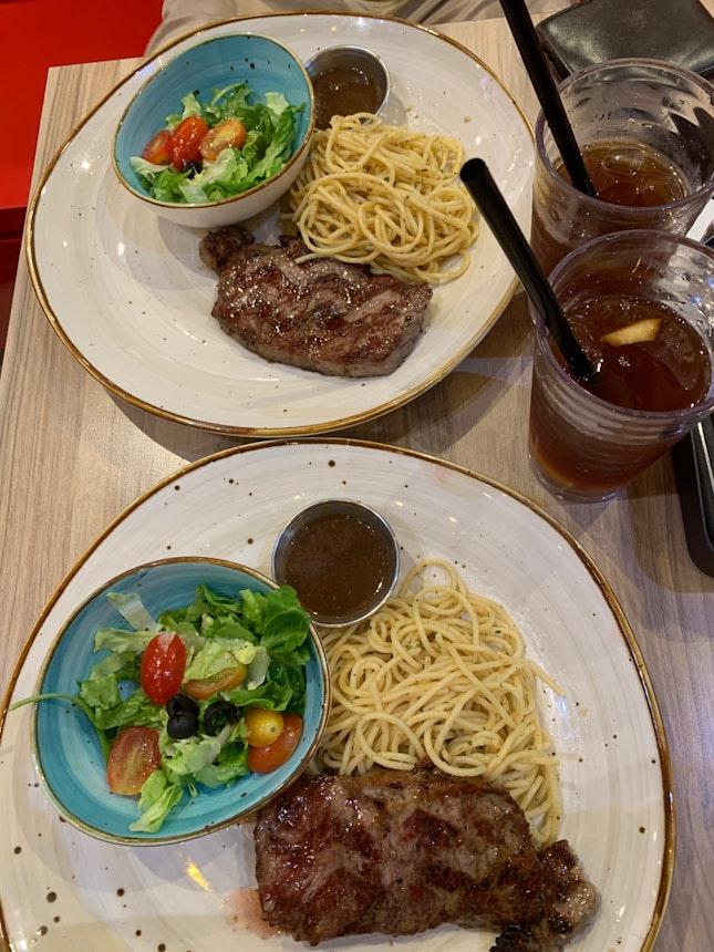 Sirloin Steak And Aglio Olio Pasta