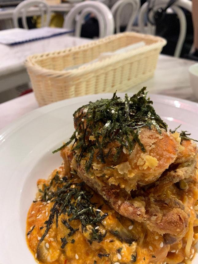 Soft Shell Chilli Crab Pasta!