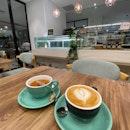 Cafe Latte & Peach Melon Tea (~$2.20)