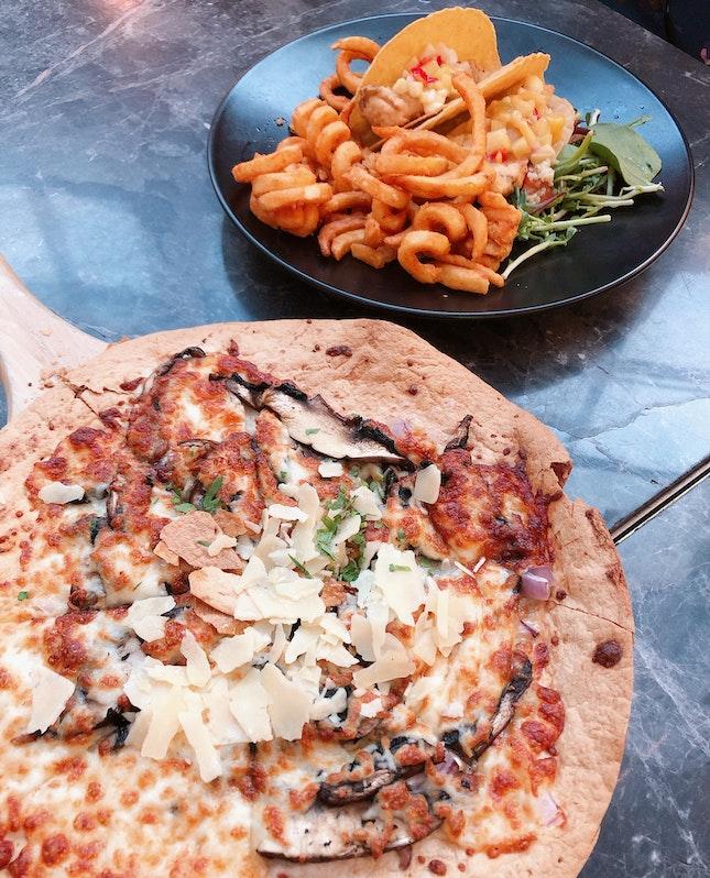 Crispy Fish Fillet Tacos & Truffle Portobello Mushroom Pizza