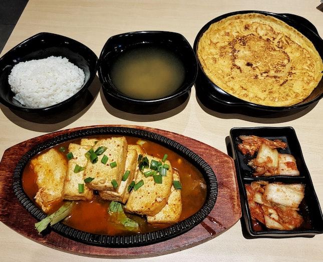 Tofu Hotplate Set ($6.80) + Mini Kimchi Pancake ($3)
