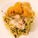Cold Pasta With Uni, Scallop, Caviar And Truffle ($88)