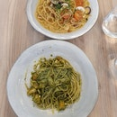 Basil Pesto Prawn Pasta($24++) and Vongole Pasta($24++)
