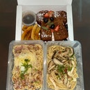bacon carbonara spicy + mushroom aglio olio + french toast