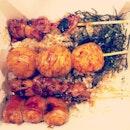 Lunch earlier on 😋 🍱🍢🍡 #wadori #chicken #cuttlefish #balls #cheesy #sausages #wrap #bacon #yummy #foodporn