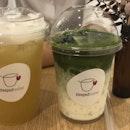 pear oolong and matcha latte