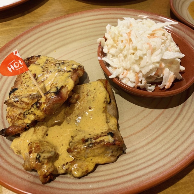 boneless chicken thigh with cole slaw