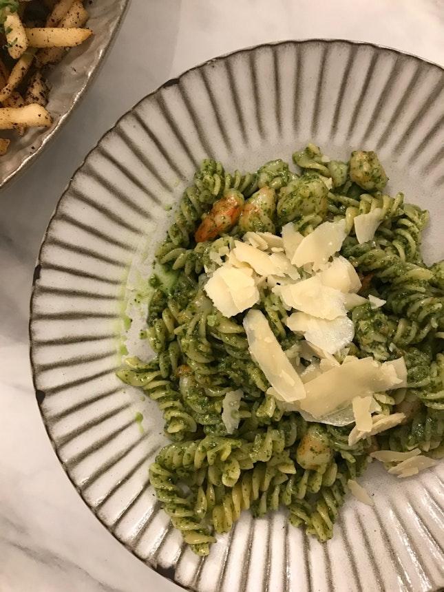Grilled Prawns Pesto Pasta ($23)