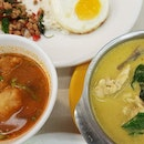 Green Curry, Basil Left Minced Chicken and Tom Yam soup
