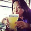 #big #glass of #hoegarden