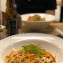 Spicy Pomodoro Crab Pasta ($24) & Umami Prawn Linguini ($23)