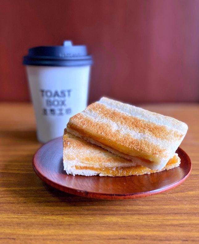 Traditional Kaya Toast with Milk Tea