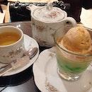 Gula Melaka Chendol Panna Cotta & Sweet France tea.