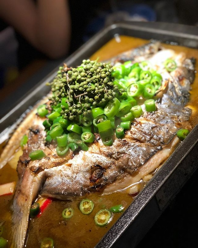 Tan Yu - Grilled fish with Green Pepper, Soy Sauce and Flame flavour.