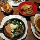 Salmon Rosti, Beef Goulash, Ribs, Fried Mushrooms, Potato Wedges