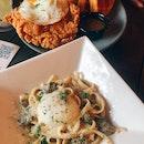 Chicken & Waffles and Truffle Mushroom Pasta