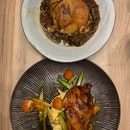 Duck Leg Confit & Honey Glazed Spring Chicken