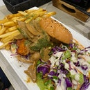 King Oyster Patty with Swiss Mushroom Sauce ($16.90)