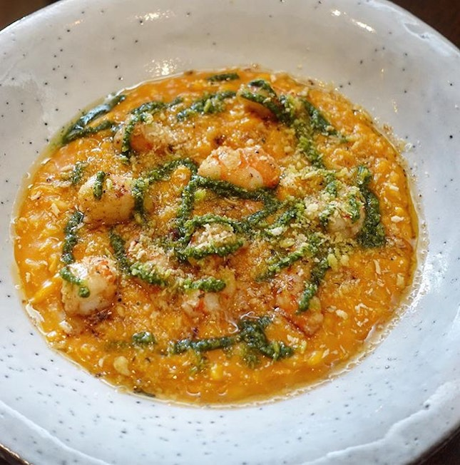 Seared Prawn with Carrot Risotto-$26  One of the more unique Risottos around.