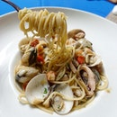 Seafood Aglio Olio -$22  A simple pasta dish that's well executed.