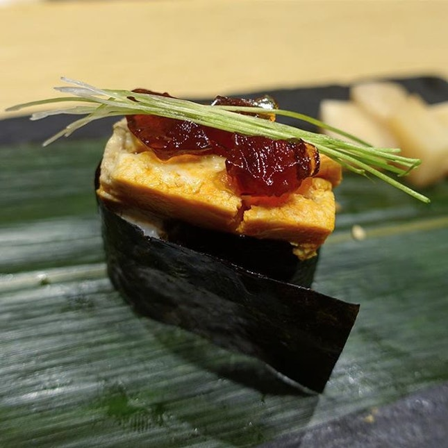 Ankimo Sushi with Ponzu Jelly and Spring Onion shoots.