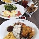 Nasi Lemak with Chicken, Eggs Benedict and Garlic Wings
