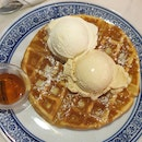 Plain Waffles With Vanilla Bean & Salted Caramel Ice Ceam