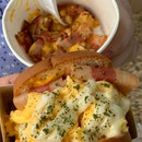 turkey bacon and cheese ($4.90) & loaded tater tots ($5.50)