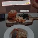 Grilled Salmon Aglio Olio ($17) & Juicy Pork Burger ($15)