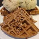 Nutella Waffle With Baked Apple&Roasted Pistachio@Three's A Crowd