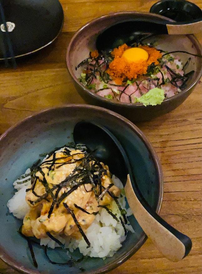 Spicy Salmon Don And Negitiro Don