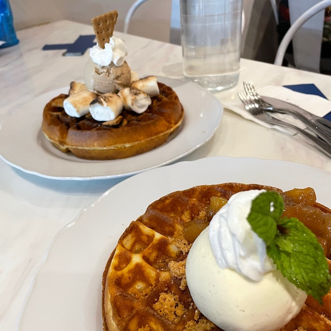 Smores and brown butter waffles