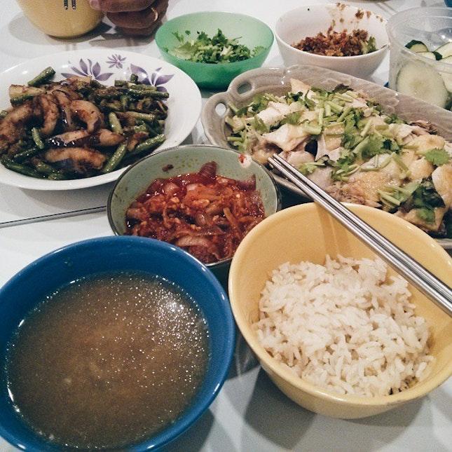 Grandma's homemade Hainam Chicken Rice, AWESOMEE.