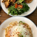 Grilled Cajun Chicken and Toasty Aglio Olio with Tiger Prawns