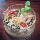 Sweet Corn 'Pot of Earth', Shrimp, Mozzarella, Chili