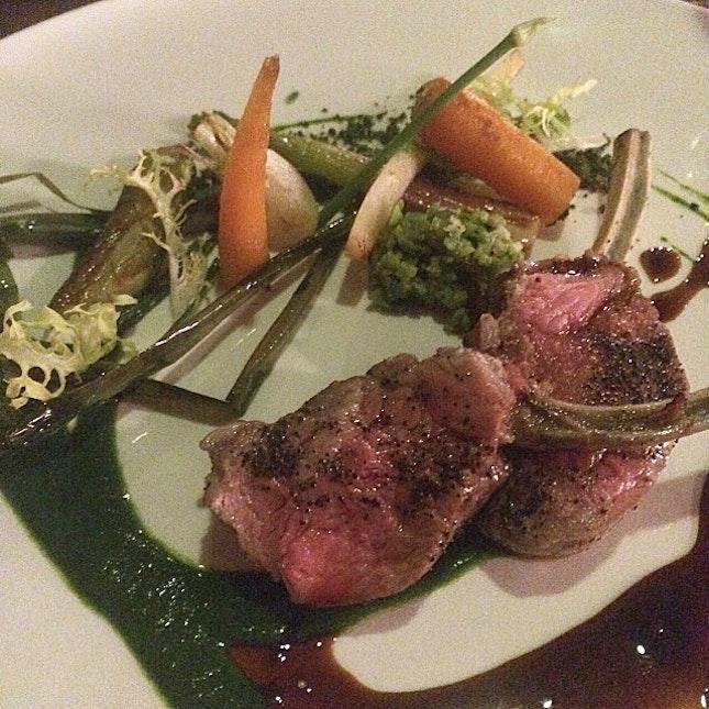 Rack of Lamb, Chicory Crust, Carrot, Kale