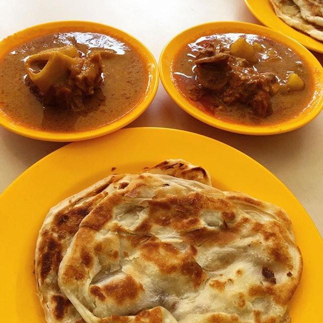 Roti Prata with mutton curry.