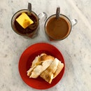 Buttered coffee and toast.