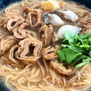 Mee Sua with Oysters and Braised Pig's Intestines  _ A Taiwanese street food where there is a shop selling this almost every street corner  _ Mee Sua is cooked a slightly softer and very flavourful as the braised sauce is absorbed by the mee sua.