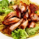 Charcoal grilled Char Siu w egg noodle.